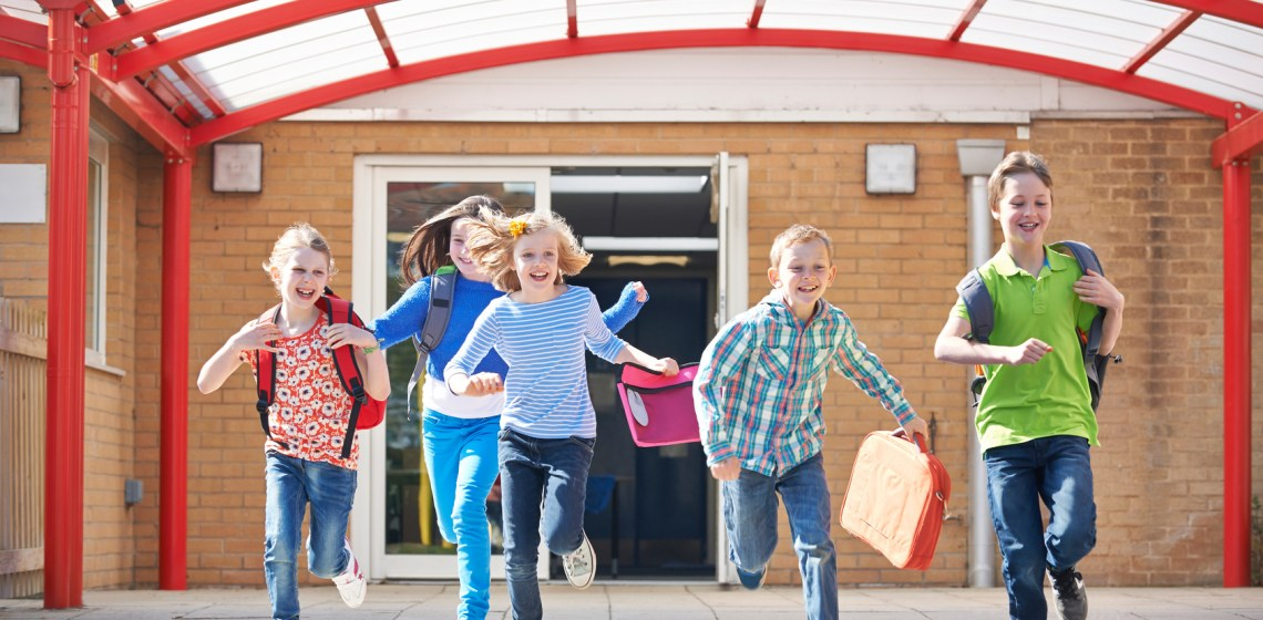 Students running out of school for summer