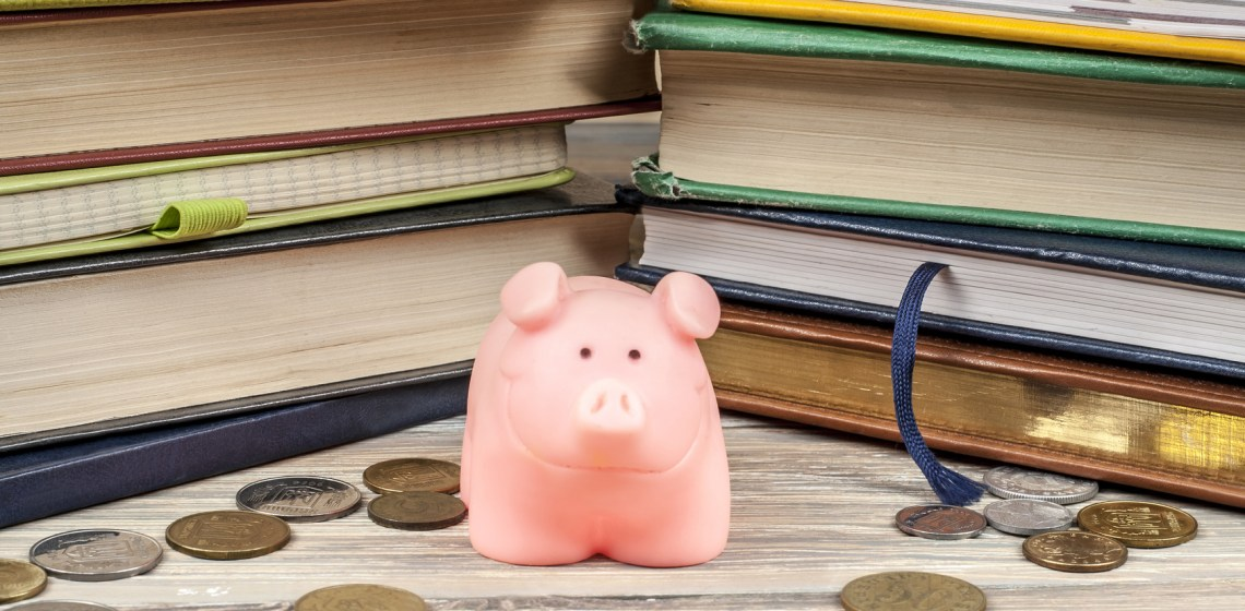 Piggy bank with colorful books