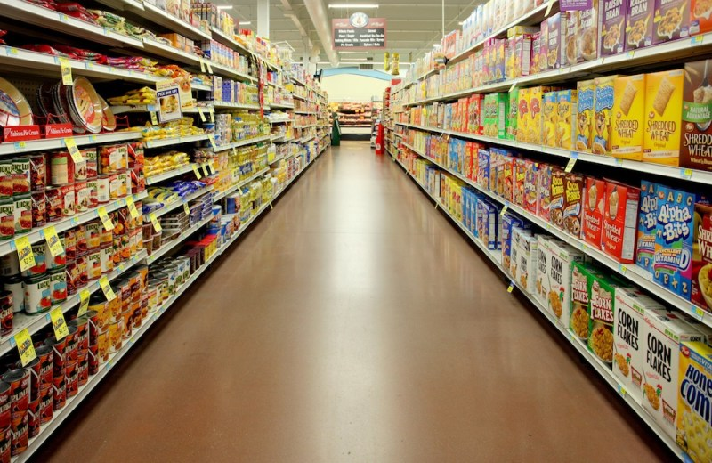 Grocery Store Aisle and grocery list items