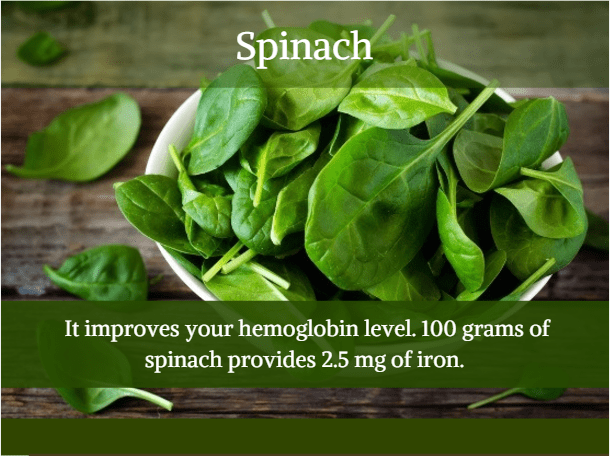 Spinach - Iron rich food