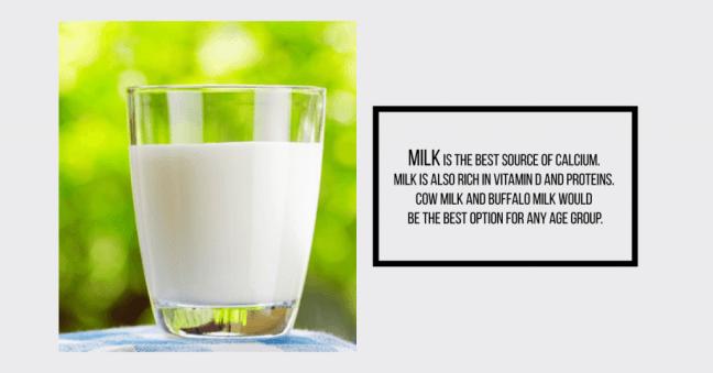 milk : calcium rich Indian food