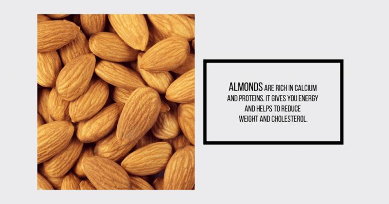 Almonds : calcium rich Indian food