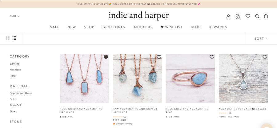indie and harper wishlist customer account page