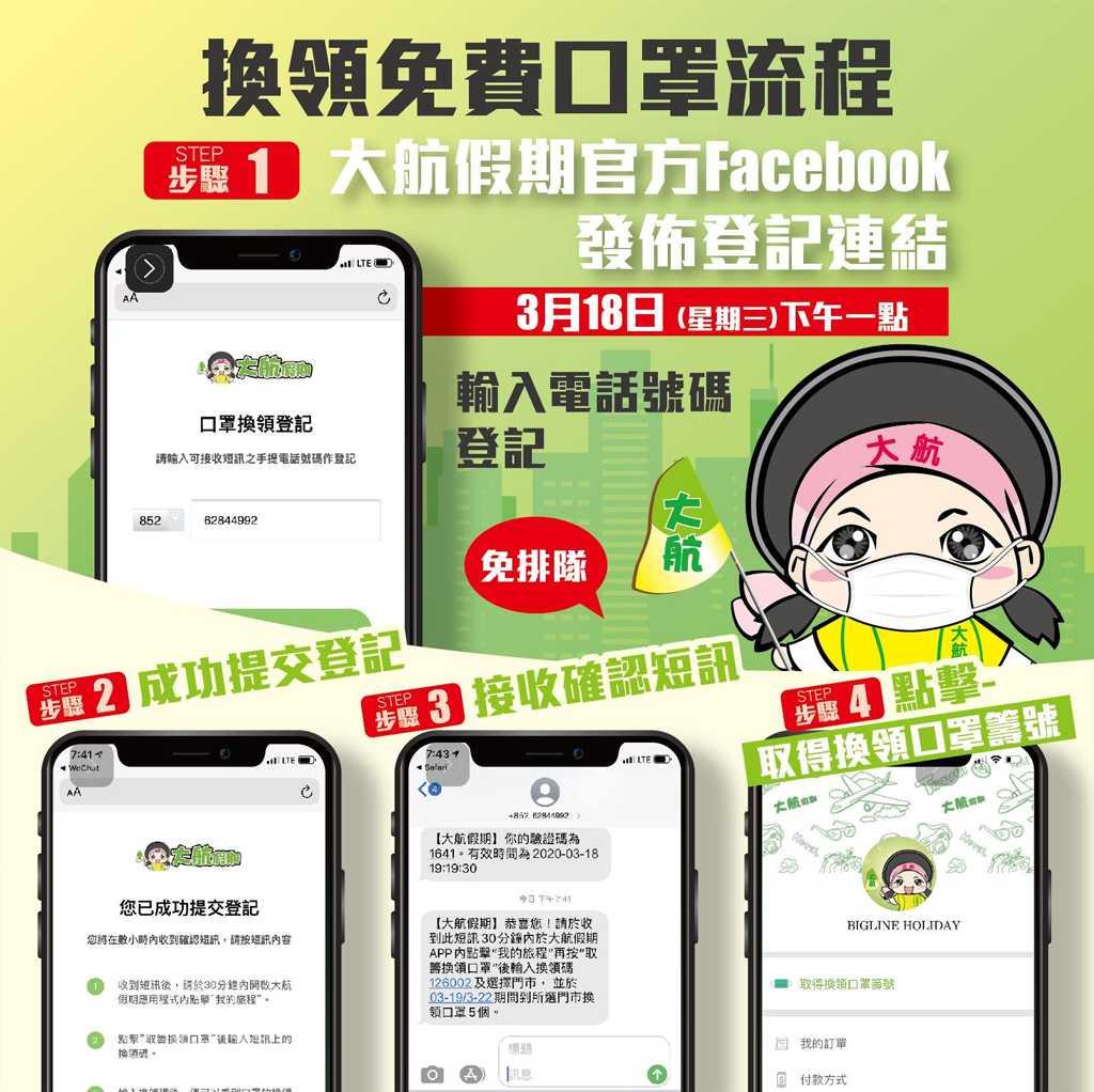大航假期 明天 18/3 下午一時開始 APP 登記取籌免費派 5 萬個口罩(優惠至 2020 年 3 月 18 日) – GetJetso 香港著數優惠網