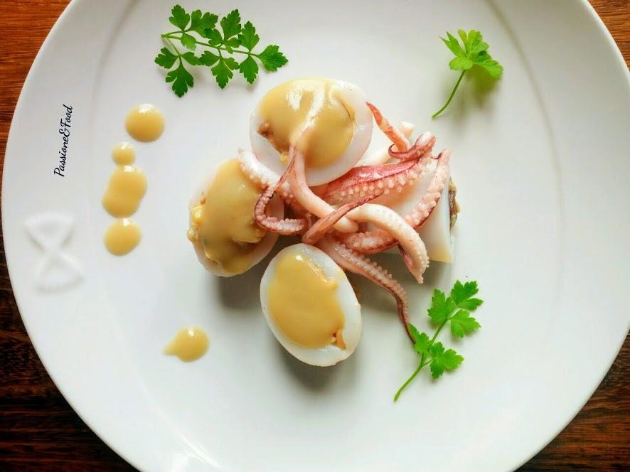 Calamaro ripieno con risotto di funghi e vongole