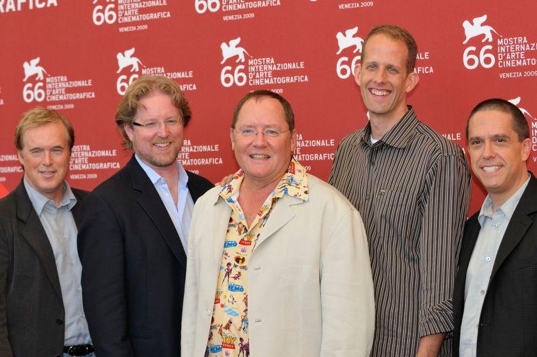 Brad Bird, Andrew Stanton, John Lasseter, Pete Doctor e Lee Unkrich al Festival di Venezia, premiati con il Leone d'oro alla carriera.