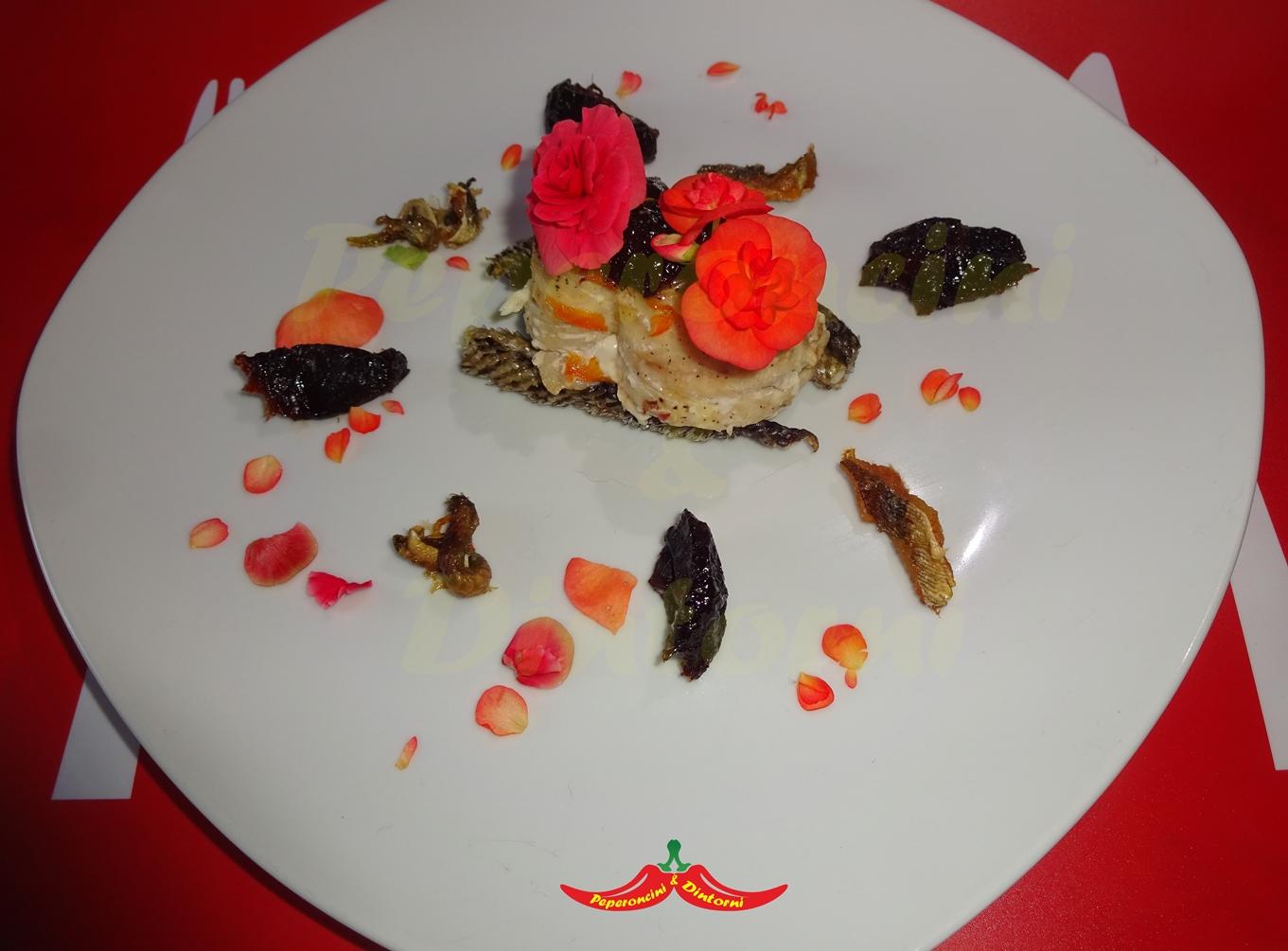 Tracina con Prugne, Begonia e salsa Habanero