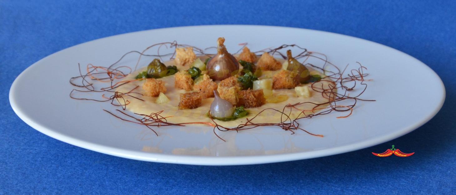 Crema di Ceci, Patate e Cipolle Egiziane al forno