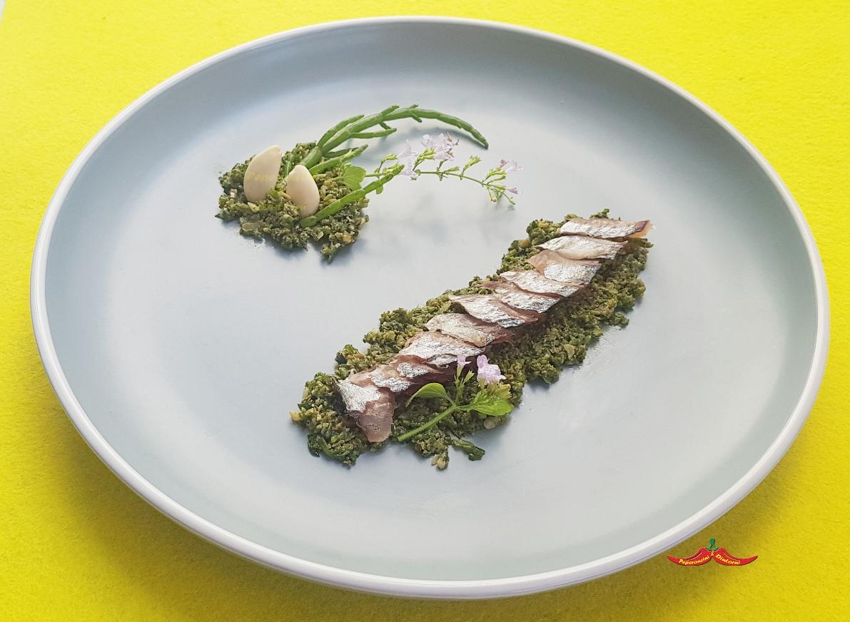 Filetto di Sgombro marinato al pesto di Salicornia, nepitella e mandorle