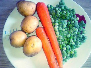 patate carote piselli in salsa di soia
