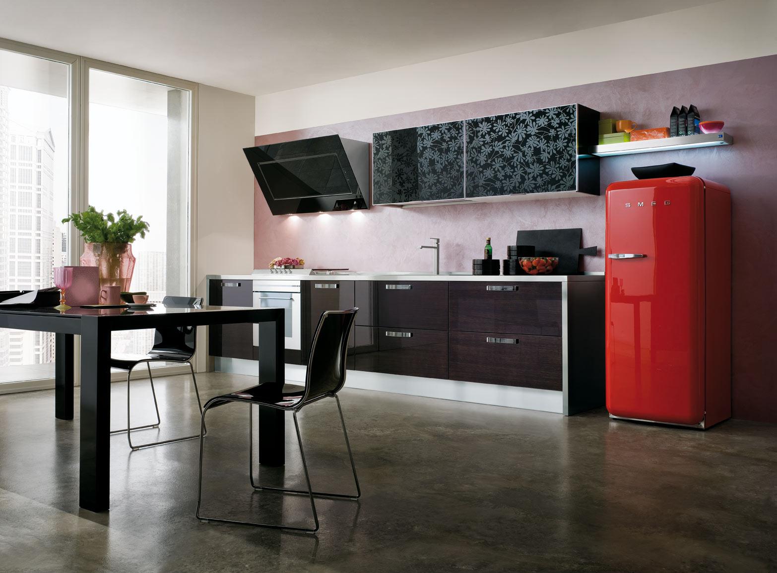 Cucina Zenith con ante in vetro disegni floreali  Gicinque Cucine