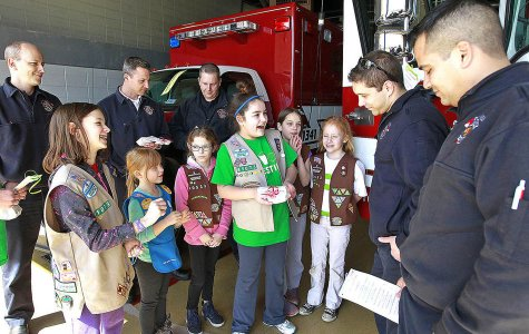 Area Girl Scouts Surprise Gurnee Firefighters with Care Packages