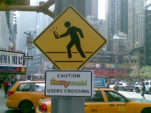 warning sign for mobile using pedestrians in New York