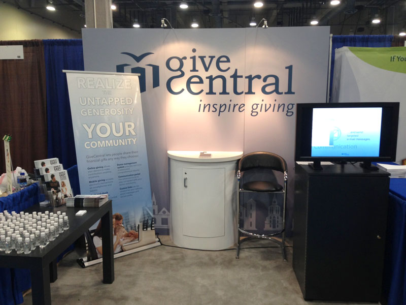 GiveCentral's tradeshow booth before the opening of NCDC 2013