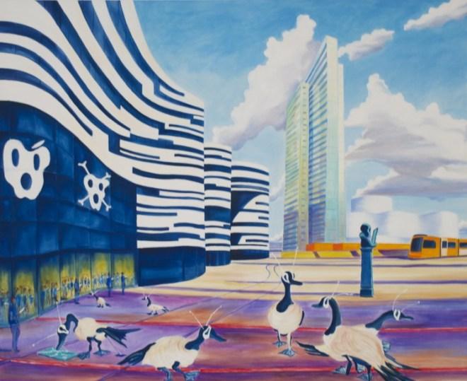 Anna Meyer, Welt du Strichcode, 2014, Öl auf Leinwand, 130 x 160 cm