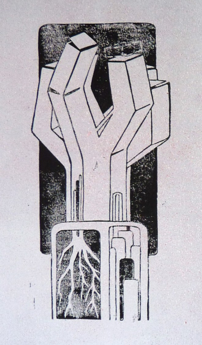 Sergei Moser, Wachsturm, 2014/15, Linoldruck (Unikat), 28 x 18 cm