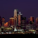 dallas texas city skyline at night