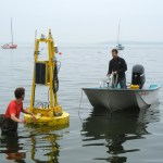 Photo: GLEON buoy on Lake Mendota. Credit: UW Madison.