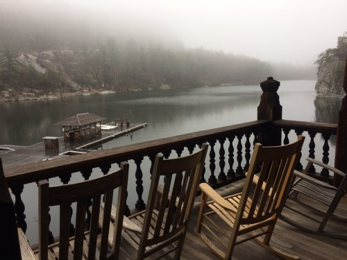 Photo: Porch overlooking Mohonk Lake. Credit: Lisa Borre.