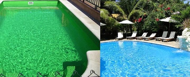 Tratamento de piscina com água esverdeada