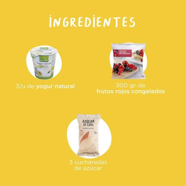 Ingredientes para la receta de helado casero de frutos rojos