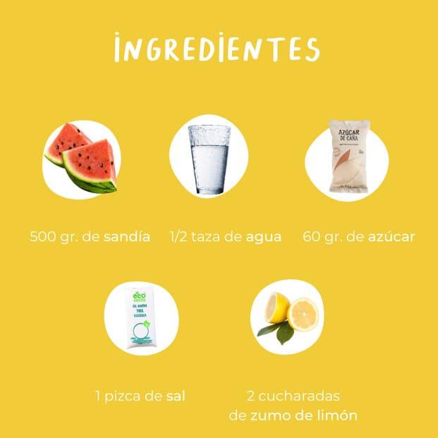 Ingredientes del sorbete de sandía: 500 gramos de sandía media taza de agua 60 gramos de azúcar 1 pizca de sal 2 cucharadas de zumo de limón