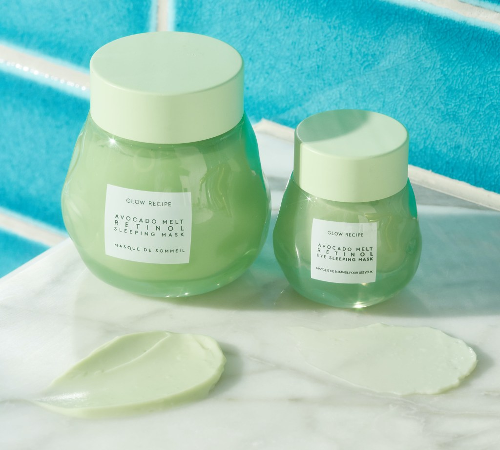 Glow Recipe Avocado Melt Retinol Sleeping Mask and Avocado Melt Retinol Eye Sleeping Mask with texture swatches.