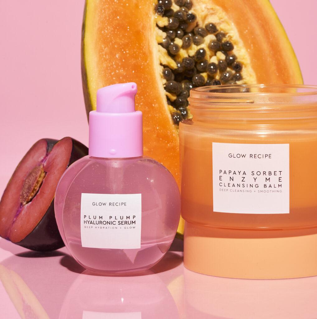 Glow Recipe Plum Plump Hyaluronic Serum, Papaya Sorbet Enzyme Cleansing Balm with fruit