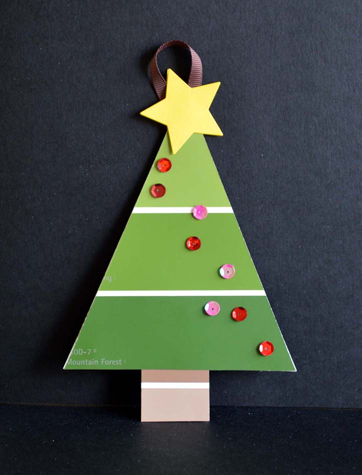 Paint Chip Christmas Tree Ornaments