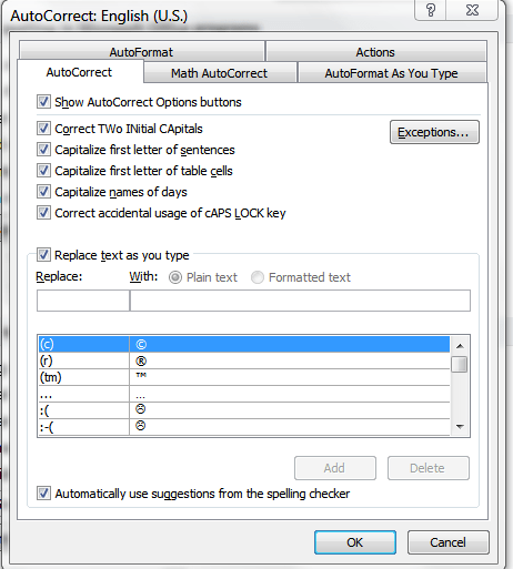 AutoCorrect Dialog in Word