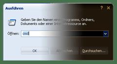 Ausführen - Dialogfenster Invers