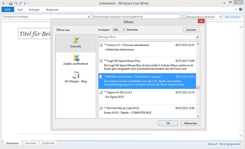Der neue Windows Live Writer 2012 1