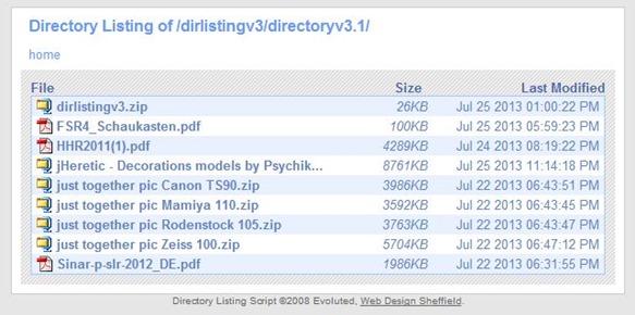 Directory Listing mit Beispieldateien
