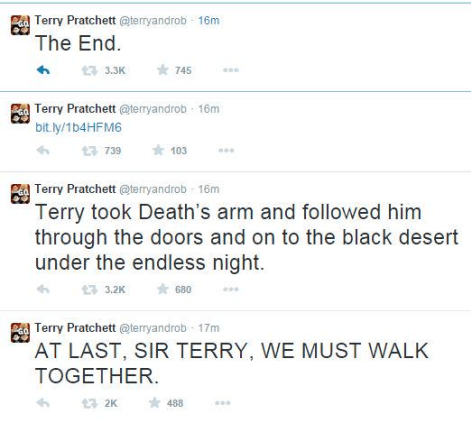Terry Pratchett Announcement Tweet