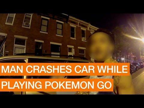 man crashes while playing pokemon go