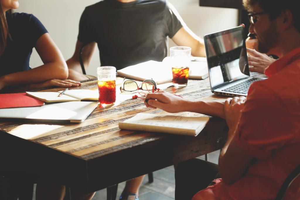 Team meeting in a workspace