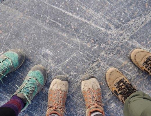 Three pairs of hiking boots
