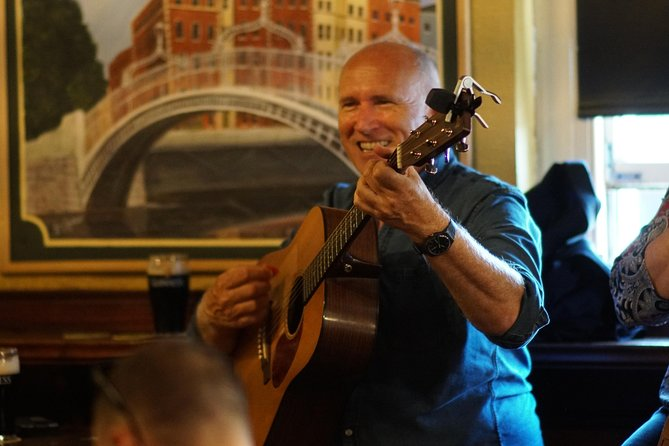 Irish musician playing in a pub in Dublin, Ireland.