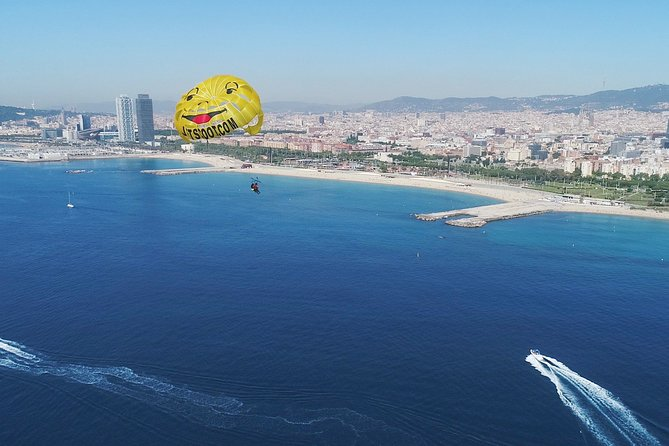 Parasailing adventure in Barcelona, Spain.