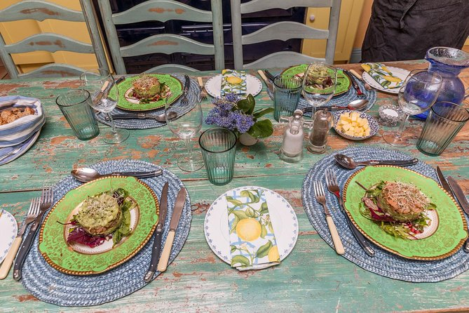 Plates of food made during an Irish cuisine cooking class near Dublin.