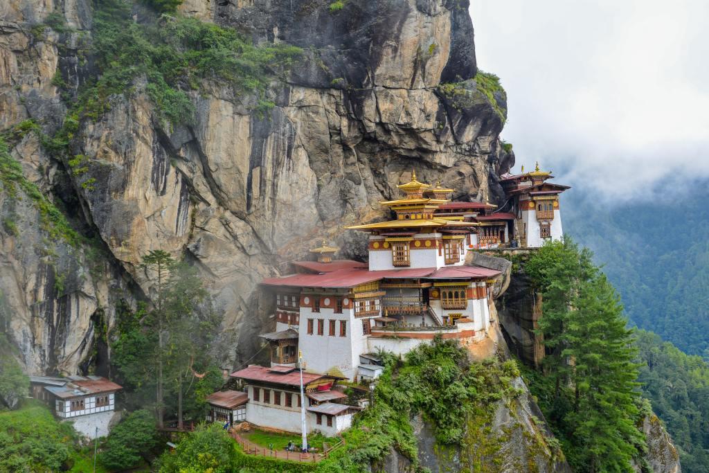 A Buddhist site in the cliffs of Bhutan.