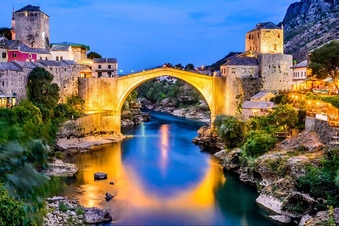 The ancient city of Mostar at night.