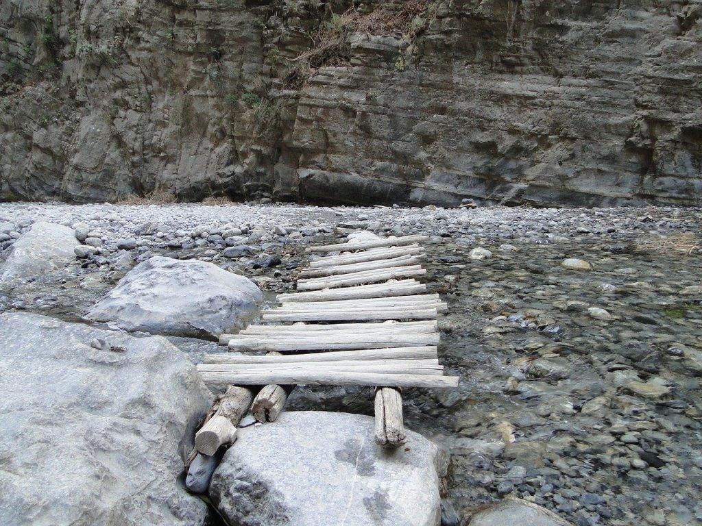 A wooden bridge over a creek in Samaria Gorge, Crete, Greece