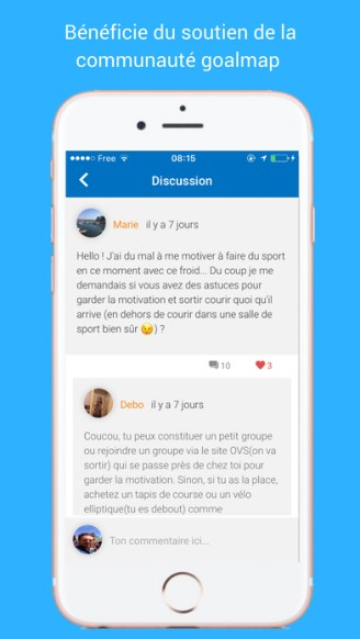 capture d'écran application goalmap iOS objectifs