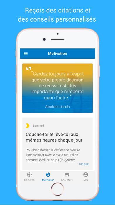 Capture d'écran motivation et conseils sur goalmap