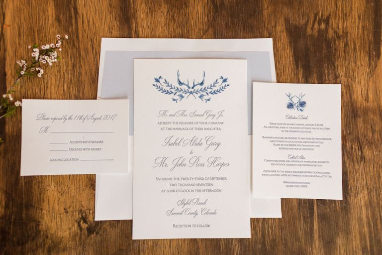 watercolor antler wedding invitation