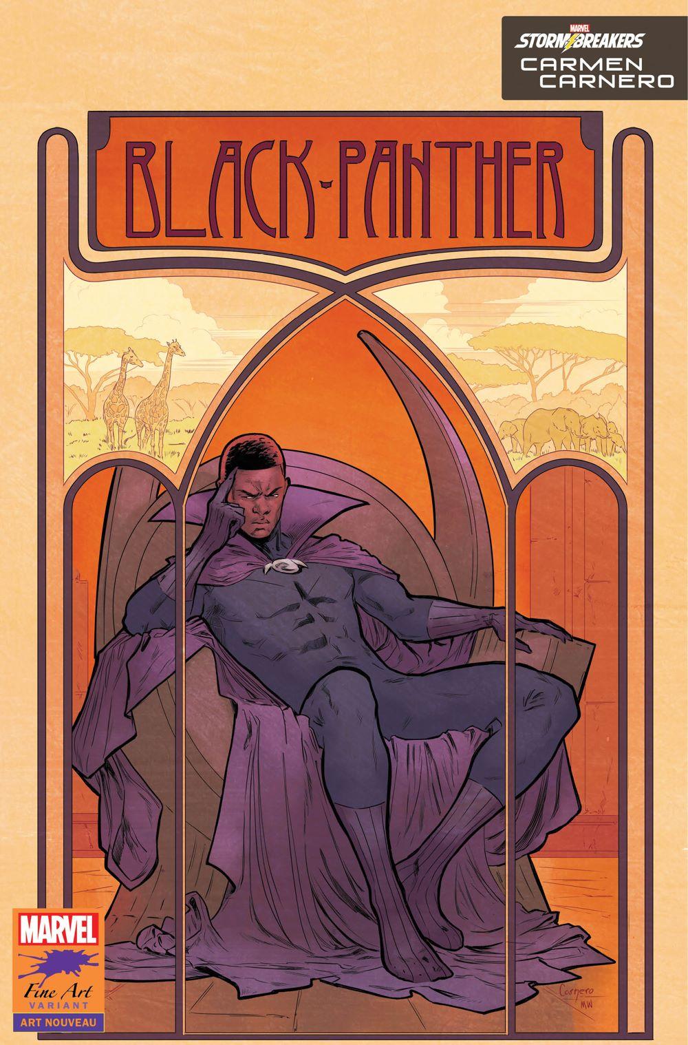 BLAP25_FINEART_CARNERO Marvel's Stormbreakers to create BLACK PANTHER Fine Art variants