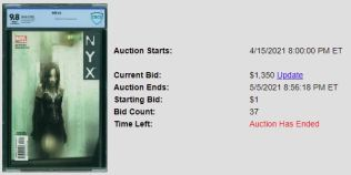 CBCS-9.8-300x150 Recent Sales- 1 Comic, 2 Auctions: NYX #3