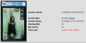 CGC-9.8-2-300x153 Recent Sales- 1 Comic, 2 Auctions: NYX #3