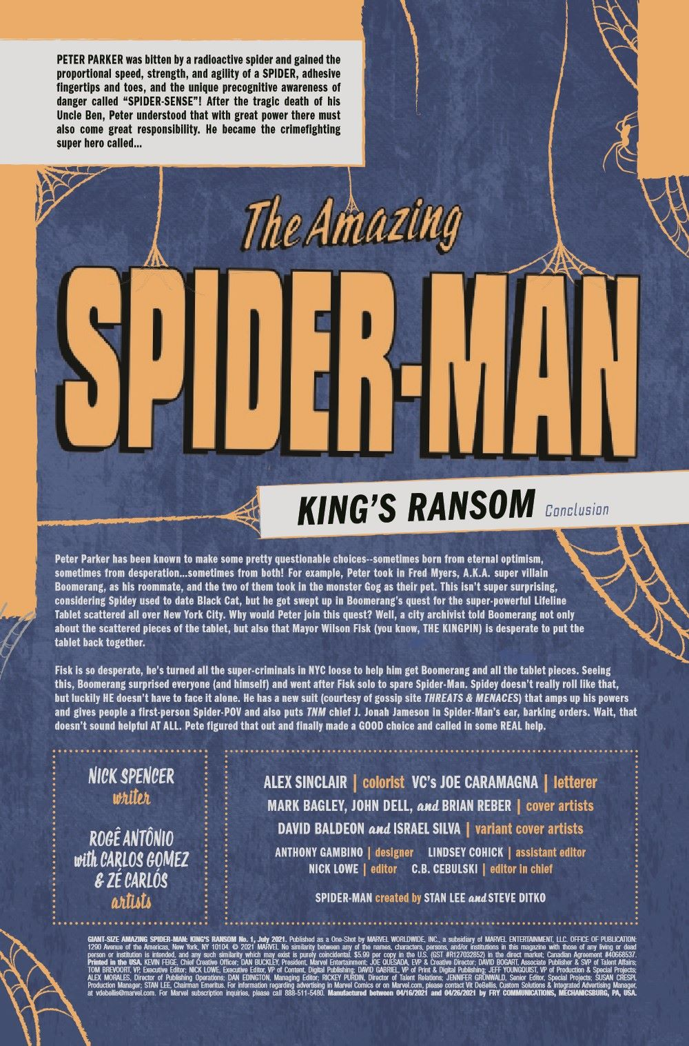 GSASMKINGR2021001_Preview-2 ComicList Previews: GIANT-SIZE AMAZING SPIDER-MAN KING'S RANSOM #1